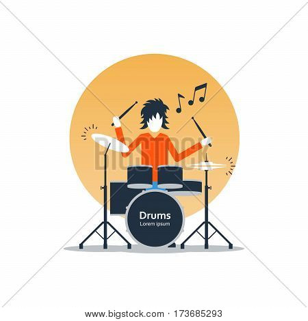 Rock music live performance, drummer playing music, rehearsal concept, vector flat illustration