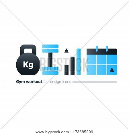 Weight lifting program concept, kettlebell and dumbbell icon, gym workout plan, intensive training week, strength improvement, sport calendar, vector flat design illustration