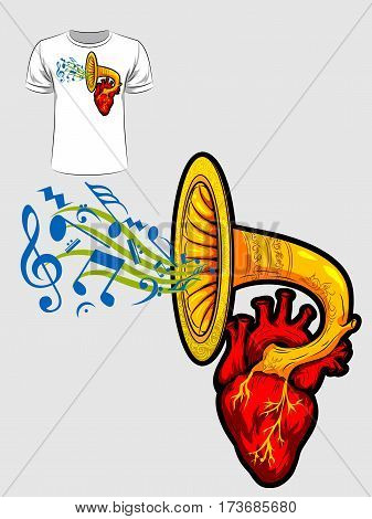 Abstract graphic design of music coming out from heart for t-shirt or banner print. Vector illustration