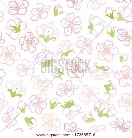 Vector seamless spring blossoms pattern. Boundless background of apple flowers.