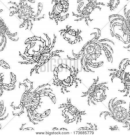 Doodles Seamless Crabs Pattern.