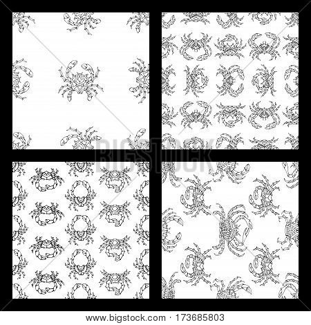 Vector Set Of Seamless Doodles Crabs Patterns.