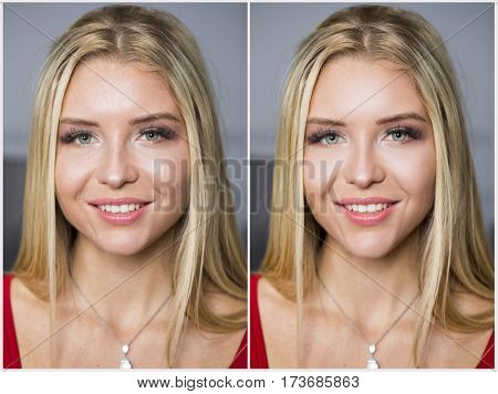 Concept retouch photos before and after. Collage Make Up. Beautiful young blonde women