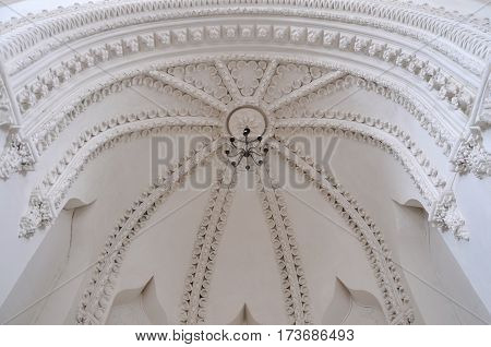 Grodno, Belarus - February 11, 2017: White decorated interior of the old synagogue in Grodno.