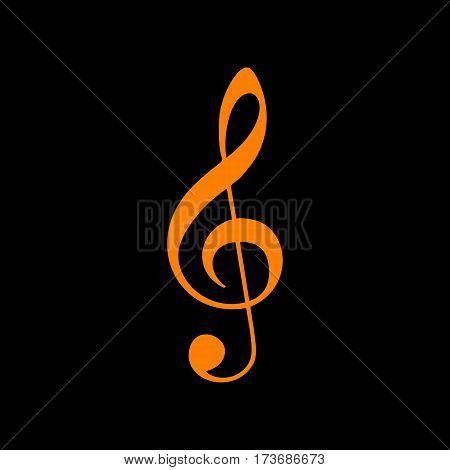 Music violin clef sign. G-clef. Treble clef. Orange icon on black background. Old phosphor monitor. CRT.