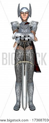 Young female warrior guard leaning on sword isolated on white background. 3d illustration