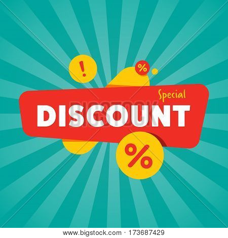 Special discount sticker isolated vector illustration. Limited offer tag, price clearance, super sale, advertisement retail label, discount banner, special shopping symbol. Modern style sale sign.