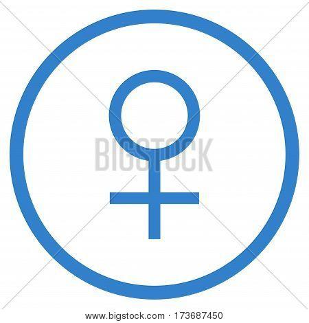 Venus Female Symbol rounded icon. Vector illustration style is flat iconic symbol inside circle cobalt color white background.