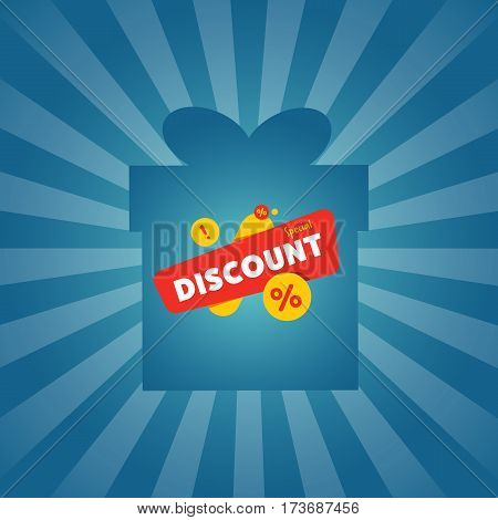Special discount sticker on box isolated vector illustration. Limited offer tag, price discount promo, super sale ad, advertisement retail label, special shopping symbol. Modern style sale sign.