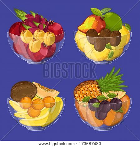 Fresh organic fruit in glass bowl set isolated vector illustration. Eco farming, vegetarian nutrition, organic healthy diet, vegan retail. Pineapple, lemon, persimmon, avocado, pomegranate in bowl