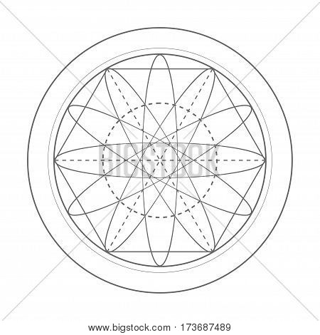sacred geometry symbol illustration. Vector energy star of rotated circles