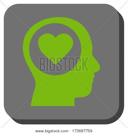 Love Thinking Head interface toolbar icon. Vector pictograph style is a flat symbol on a rounded square button light green and gray colors.