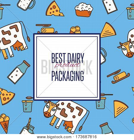 Best dairy product seamless pattern for packaging with different dairy icons in line style design, vector illustration. Organic farming background. Traditional and healthy milk products. Natural food
