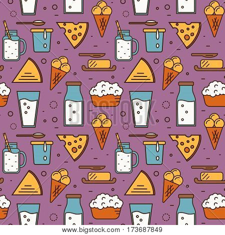 Dairy product seamless pattern for packaging with different dairy icons in line style design on perpl background, vector illustration. Organic farming. Nutritious and healthy products. Natural food