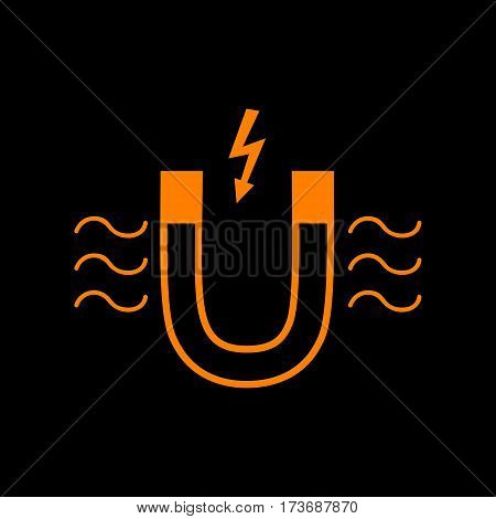 Magnet with magnetic force indication. Orange icon on black background. Old phosphor monitor. CRT.