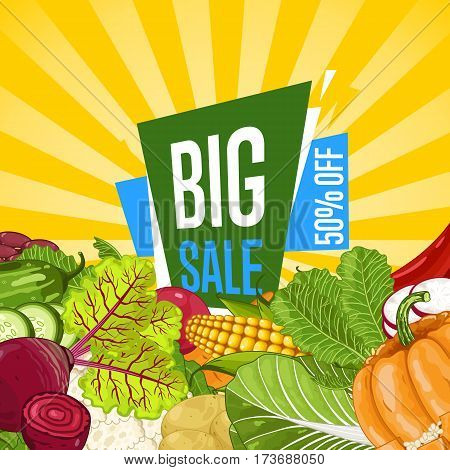Big sale proposition for farm food banner vector illustration. Natural vegetable sale, organic farming retail, vegan product store promo. Healthy farm food offer advertising with corn, pumpkin, potato