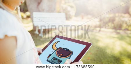 Print against kid using technology during a sunny day