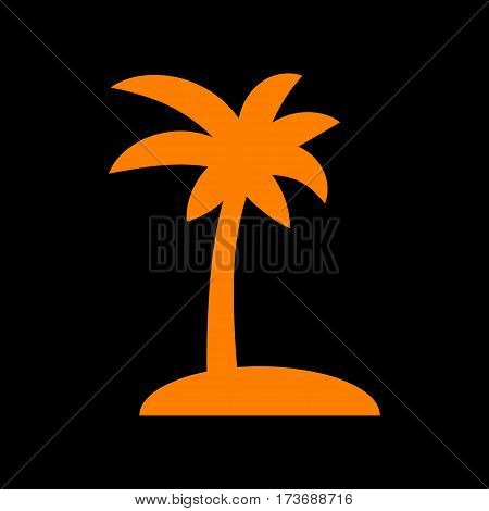 Coconut palm tree sign. Orange icon on black background. Old phosphor monitor. CRT.
