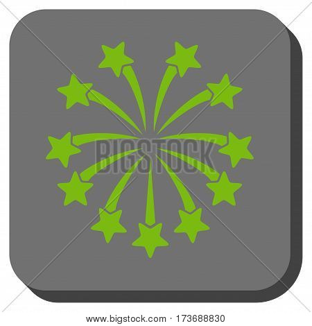 Spherical Fireworks toolbar button. Vector pictograph style is a flat symbol in a rounded square button light green and gray colors.