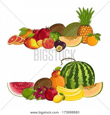 Fresh organic fruit composition isolated vector illustration. Harvest juicy fruit, vegetarian delicious nutrition, organic healthy diet. Pineapple, melon, orange, watermelon, plum, apple, coconut