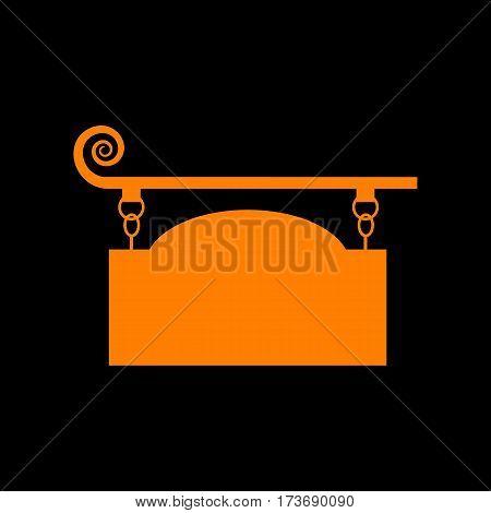 Wrought iron sign for old-fashioned design. Orange icon on black background. Old phosphor monitor. CRT.