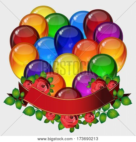 Birthday party background - colorful festive balloons, flowers of roses, ribbons flying for celebrations card in isolated white background with space for you text.