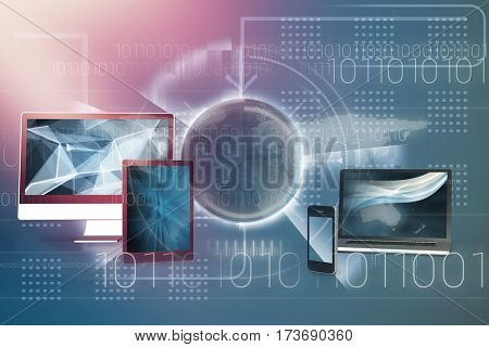Binary coding over world map against black background against composite image of earth 3D