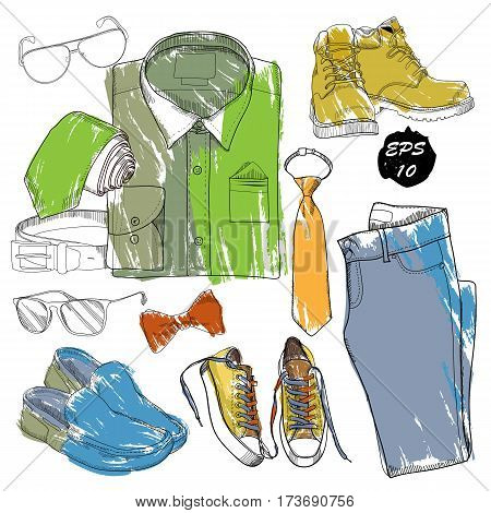 Vector illustration of Hand drawn, doodle coordination folded shirt, tie, trousers, shoes, spectacles and belt. Men set on wood background. Template for brochure, journal, flayer