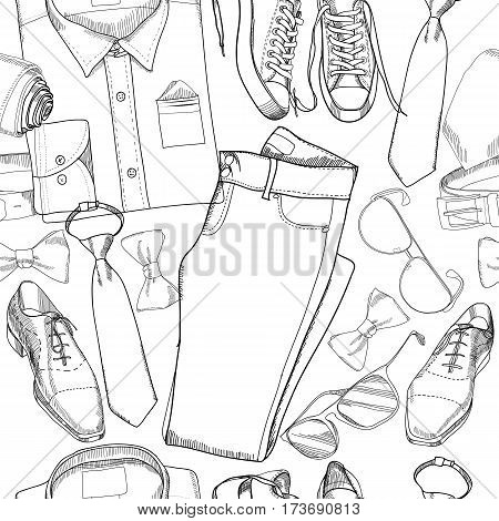 Vector illustration of seamless pattern, wrapping paper, background, hand drawn, graphic doodle coordination folded shirt, tie, trousers, shoes, classical boots, spectacles and belt.