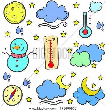 Collection stock of weather object doodles vector art