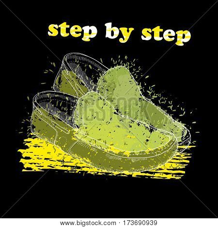 Vector illustration of Hand drawn moccasin shoes with watercolor effect, ink, art and blot object. Footwear for man and woman. Step by step. Green spring.