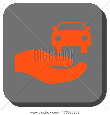 Car Gift Hand rounded icon. Vector pictograph style is a flat symbol on a rounded square button orange and gray colors.