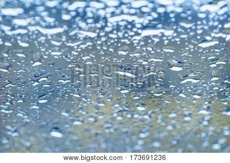 Blue Water Drops at Gradient Background