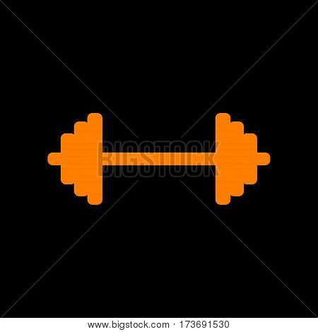 Dumbbell weights sign. Orange icon on black background. Old phosphor monitor. CRT.