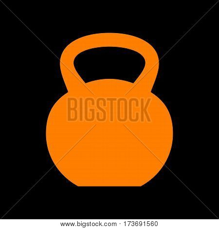 Fitness Dumbbell sign. Orange icon on black background. Old phosphor monitor. CRT.