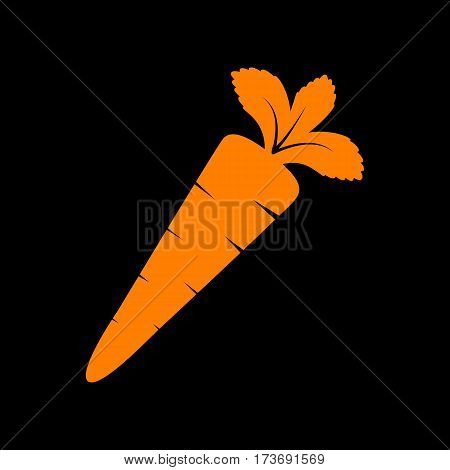 Carrot sign illustration. Orange icon on black background. Old phosphor monitor. CRT.