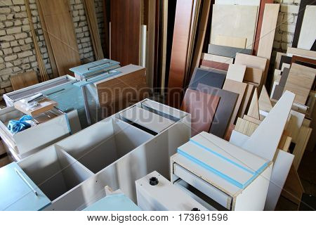 Furniture manufacture. Production department and furniture storage