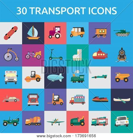 Transport Icons Set | Set of great flat icons with style flat design and use for transportation, public transit, car and much more.