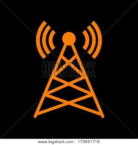 Antenna sign illustration. Orange icon on black background. Old phosphor monitor. CRT.