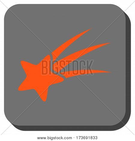 Falling Star square icon. Vector pictogram style is a flat symbol on a rounded square button orange and gray colors.