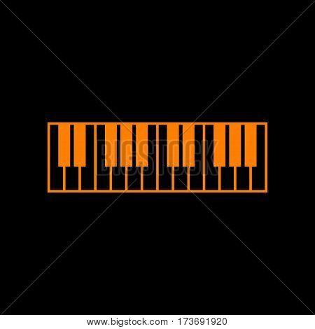 Piano Keyboard sign. Orange icon on black background. Old phosphor monitor. CRT.