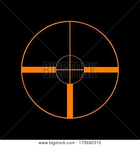 Sight sign illustration. Orange icon on black background. Old phosphor monitor. CRT.