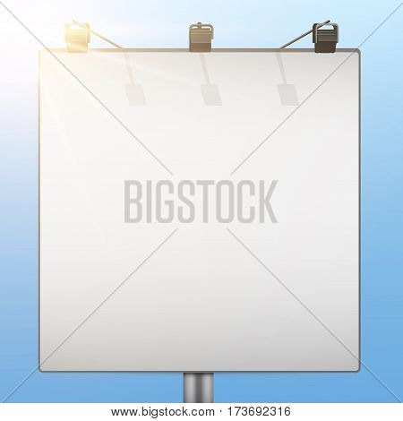 Closeup Empty mockup billboard with sky and sun at day. Square format. Vector Illustration isolated on background.
