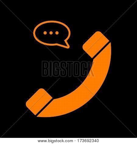 Phone with speech bubble sign. Orange icon on black background. Old phosphor monitor. CRT.