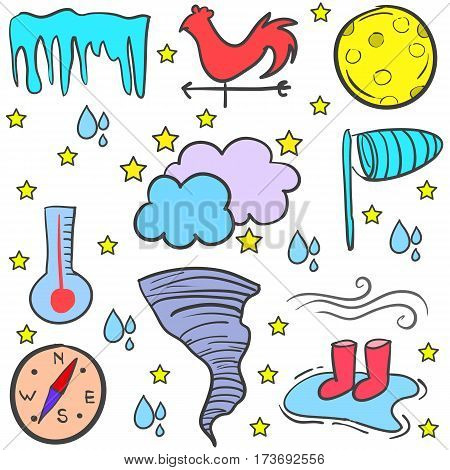 Doodle of weather style vector art collection stock