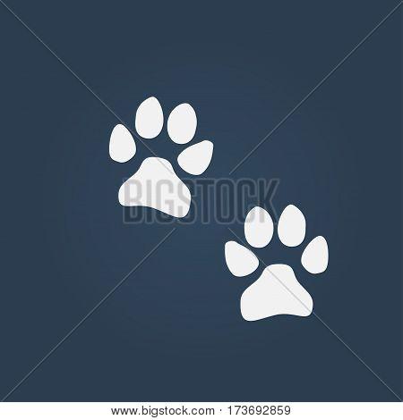 dog paw prints. Design vector icon illustration.