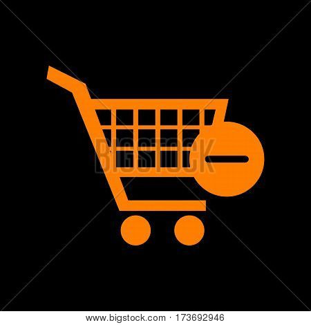 Vector Shopping Cart with Remove sign. Orange icon on black background. Old phosphor monitor. CRT.