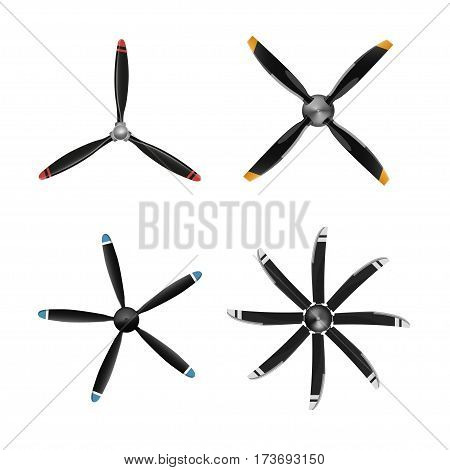 Set of aircraft screw in flat style. Airplane propellers on white background. Vector illustration