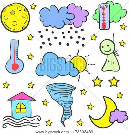 Doodle of weather style design vector collection stock