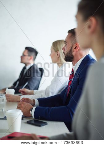 Business conference of managers or economists